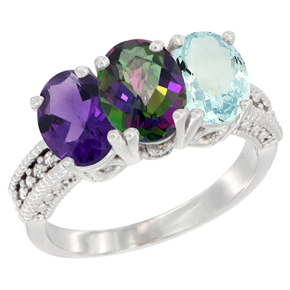 10K White Gold Natural Amethyst, Mystic Topaz & Aquamarine Ring 3-Stone Oval 7x5 mm Diamond Accent, sizes 5 - 10