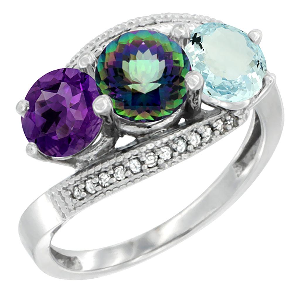 10K White Gold Natural Amethyst, Mystic Topaz & Aquamarine 3 stone Ring Round 6mm Diamond Accent, sizes 5 - 10