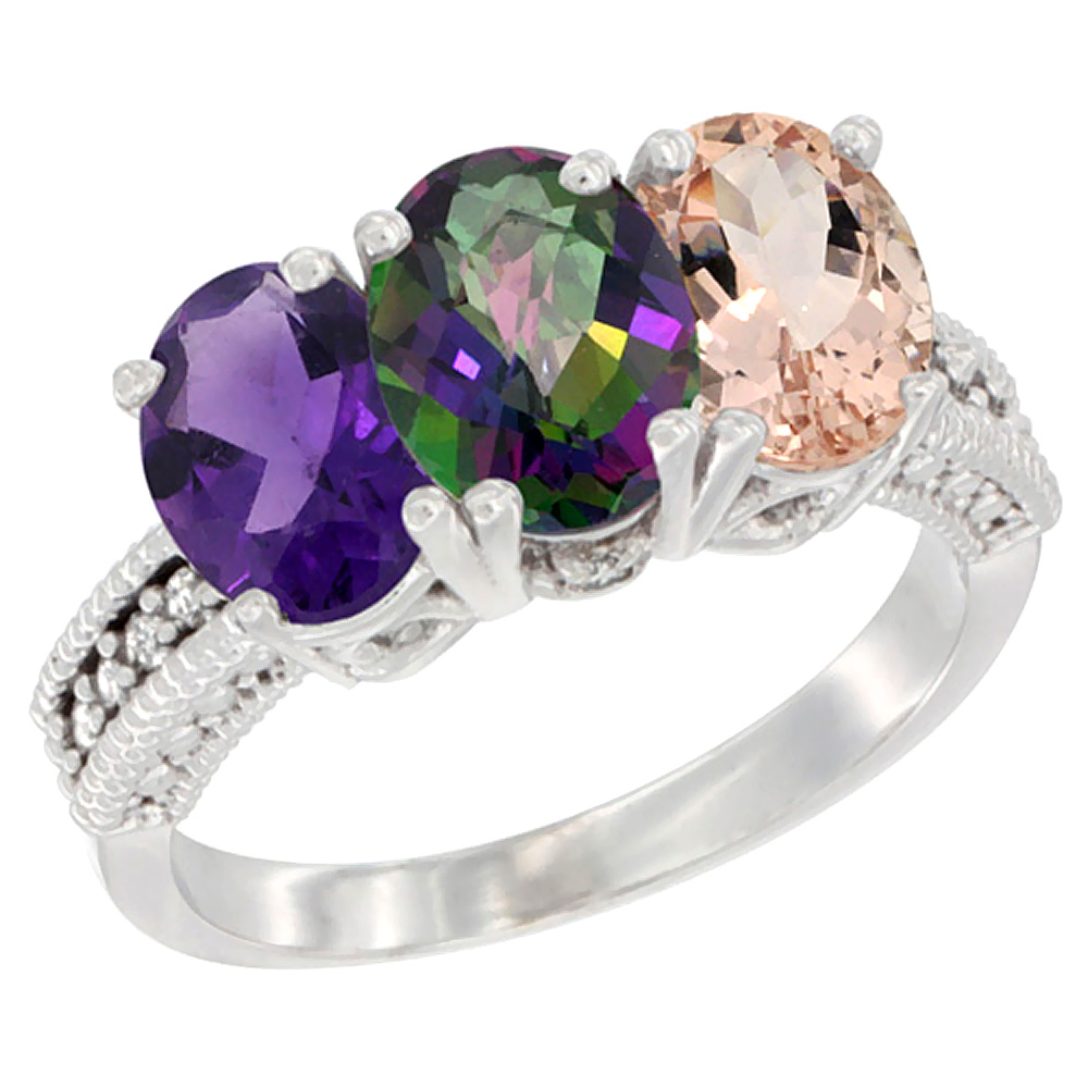 10K White Gold Natural Amethyst, Mystic Topaz & Morganite Ring 3-Stone Oval 7x5 mm Diamond Accent, sizes 5 - 10