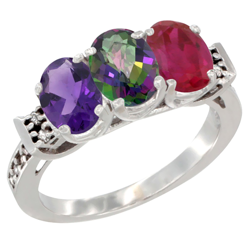 10K White Gold Natural Amethyst, Mystic Topaz & Enhanced Ruby Ring 3-Stone Oval 7x5 mm Diamond Accent, sizes 5 - 10