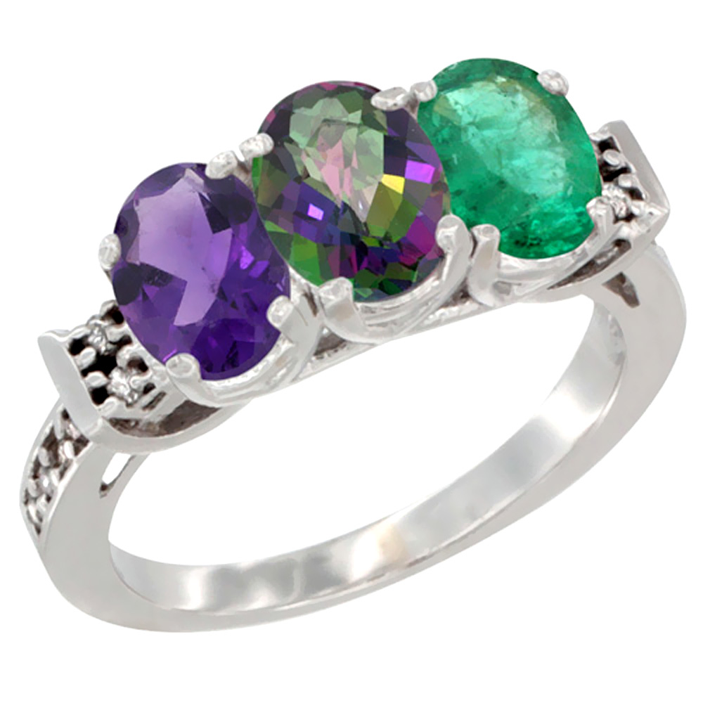 10K White Gold Natural Amethyst, Mystic Topaz & Emerald Ring 3-Stone Oval 7x5 mm Diamond Accent, sizes 5 - 10