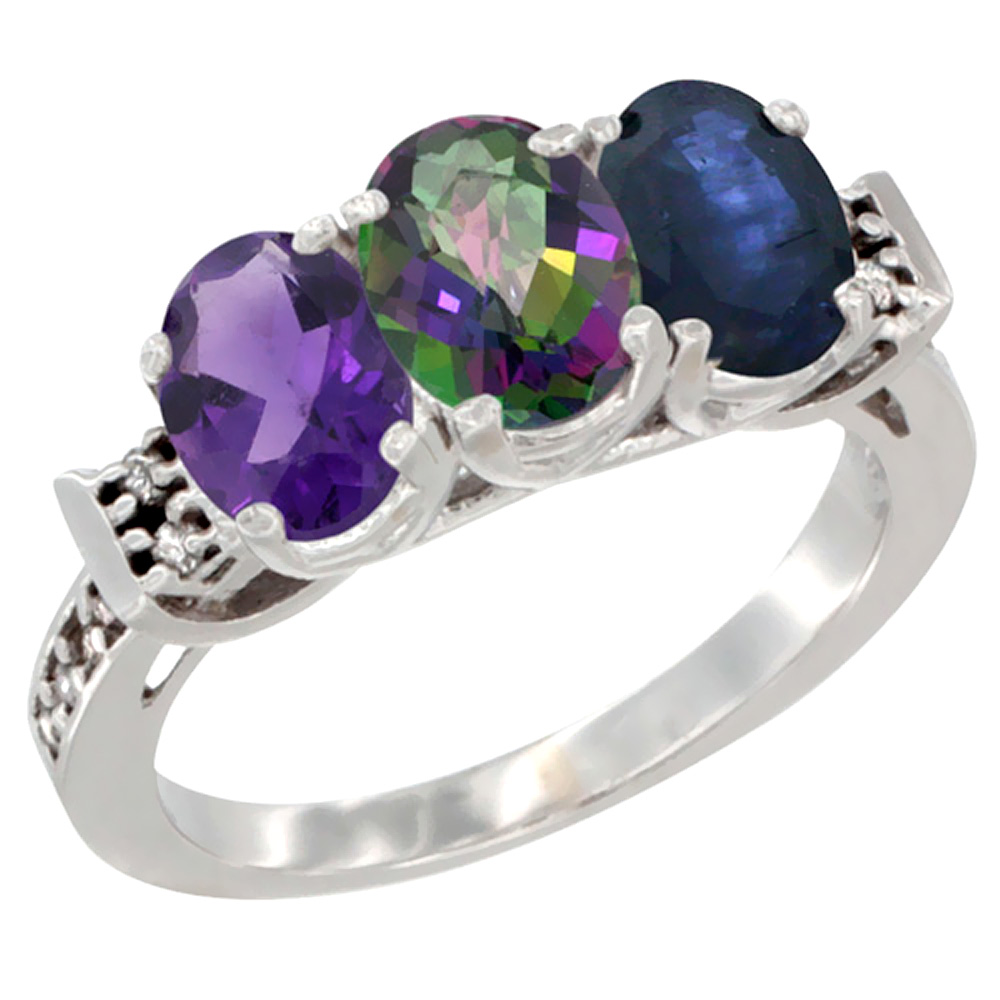 10K White Gold Natural Amethyst, Mystic Topaz & Blue Sapphire Ring 3-Stone Oval 7x5 mm Diamond Accent, sizes 5 - 10