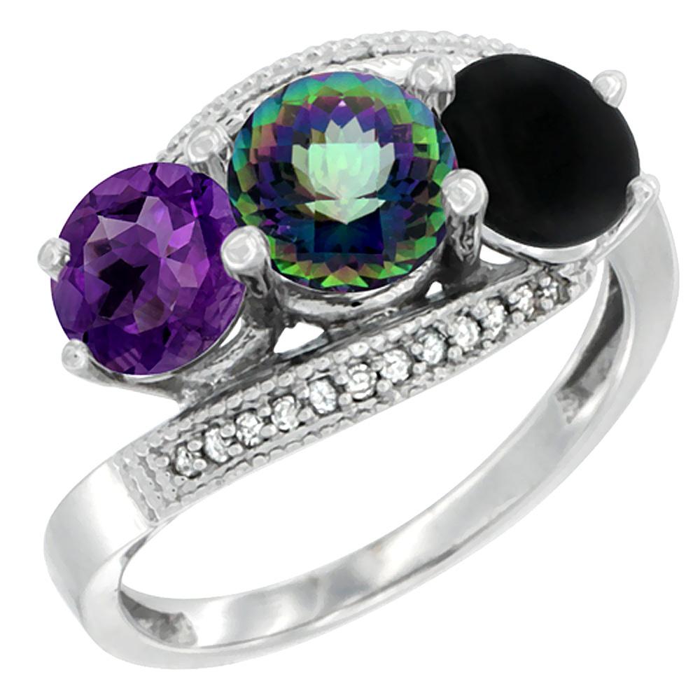 10K White Gold Natural Amethyst, Mystic Topaz & Black Onyx 3 stone Ring Round 6mm Diamond Accent, sizes 5 - 10