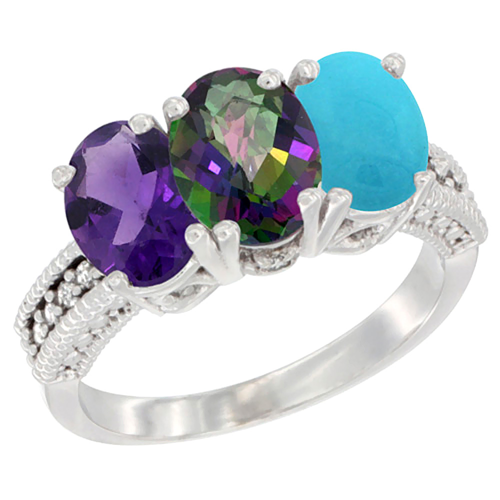 10K White Gold Natural Amethyst, Mystic Topaz & Turquoise Ring 3-Stone Oval 7x5 mm Diamond Accent, sizes 5 - 10