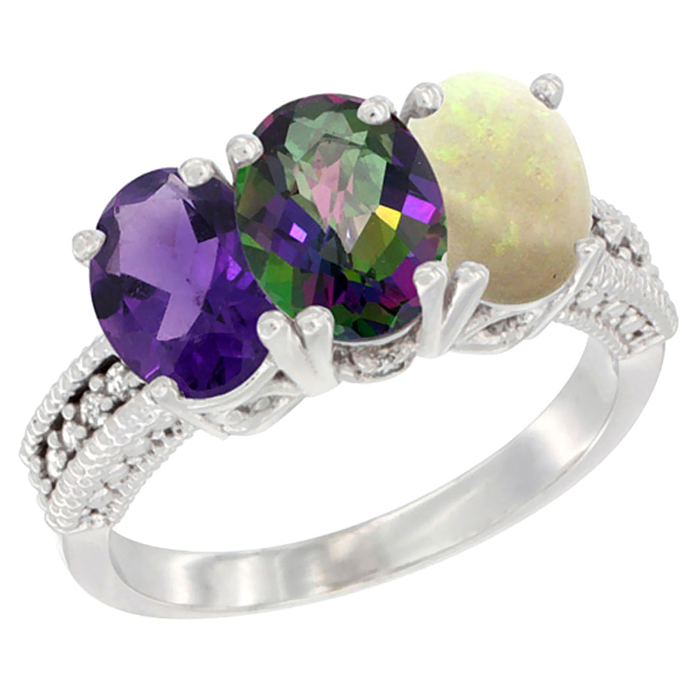 10K White Gold Natural Amethyst, Mystic Topaz & Opal Ring 3-Stone Oval 7x5 mm Diamond Accent, sizes 5 - 10