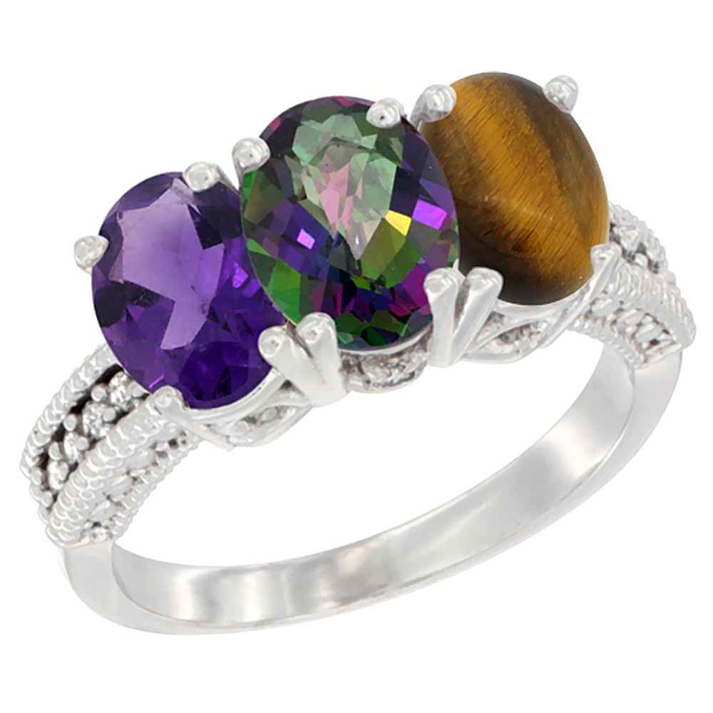 10K White Gold Natural Amethyst, Mystic Topaz & Tiger Eye Ring 3-Stone Oval 7x5 mm Diamond Accent, sizes 5 - 10