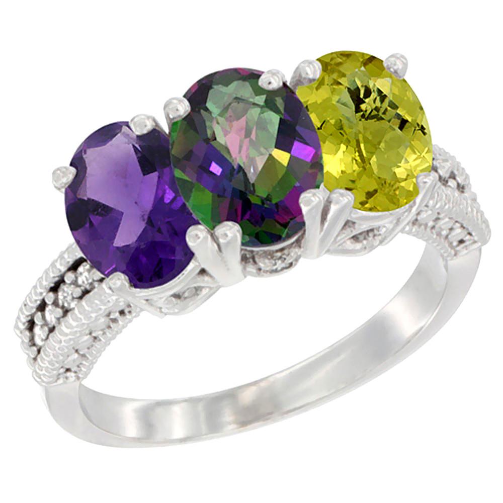 10K White Gold Natural Amethyst, Mystic Topaz & Lemon Quartz Ring 3-Stone Oval 7x5 mm Diamond Accent, sizes 5 - 10