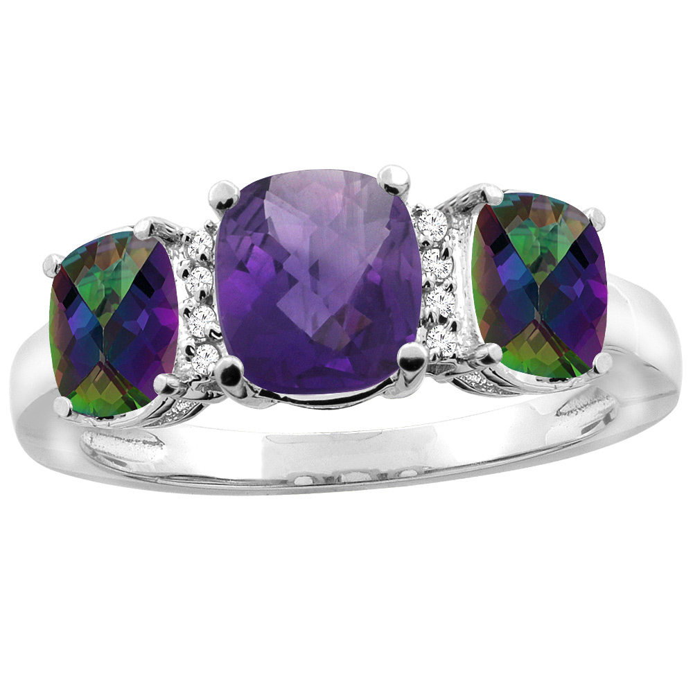 10K White Gold Natural Amethyst & Mystic Topaz 3-stone Ring Cushion 8x6mm Diamond Accent, sizes 5 - 10