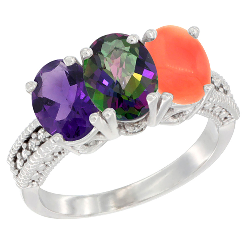 10K White Gold Natural Amethyst, Mystic Topaz & Coral Ring 3-Stone Oval 7x5 mm Diamond Accent, sizes 5 - 10