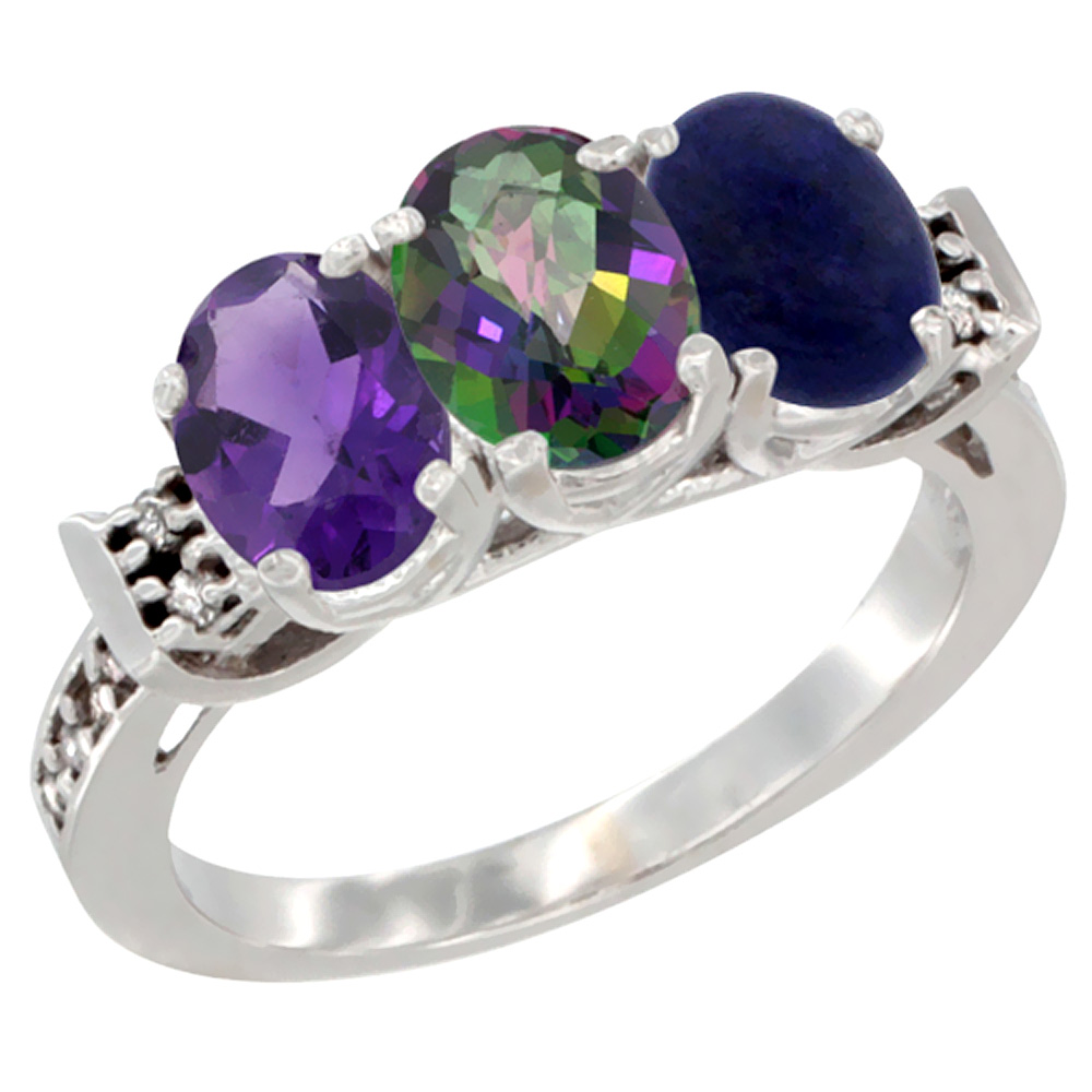 10K White Gold Natural Amethyst, Mystic Topaz & Lapis Ring 3-Stone Oval 7x5 mm Diamond Accent, sizes 5 - 10