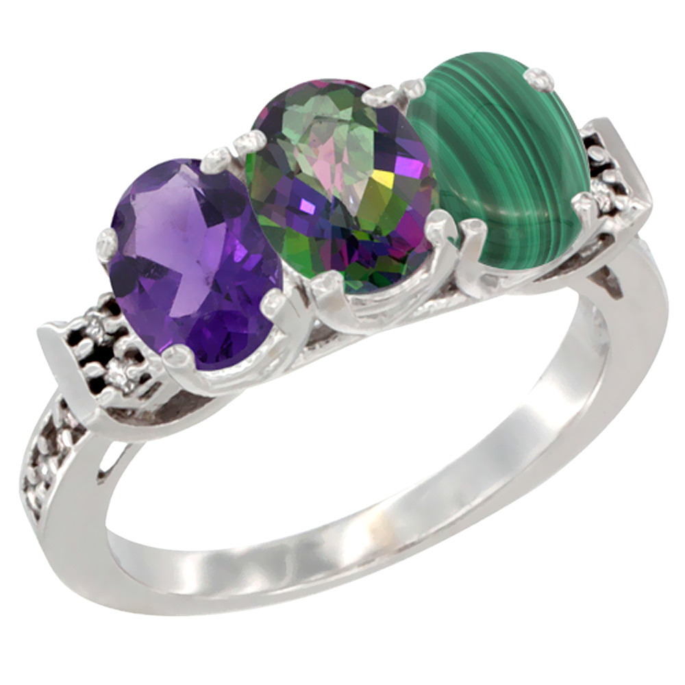 10K White Gold Natural Amethyst, Mystic Topaz & Malachite Ring 3-Stone Oval 7x5 mm Diamond Accent, sizes 5 - 10