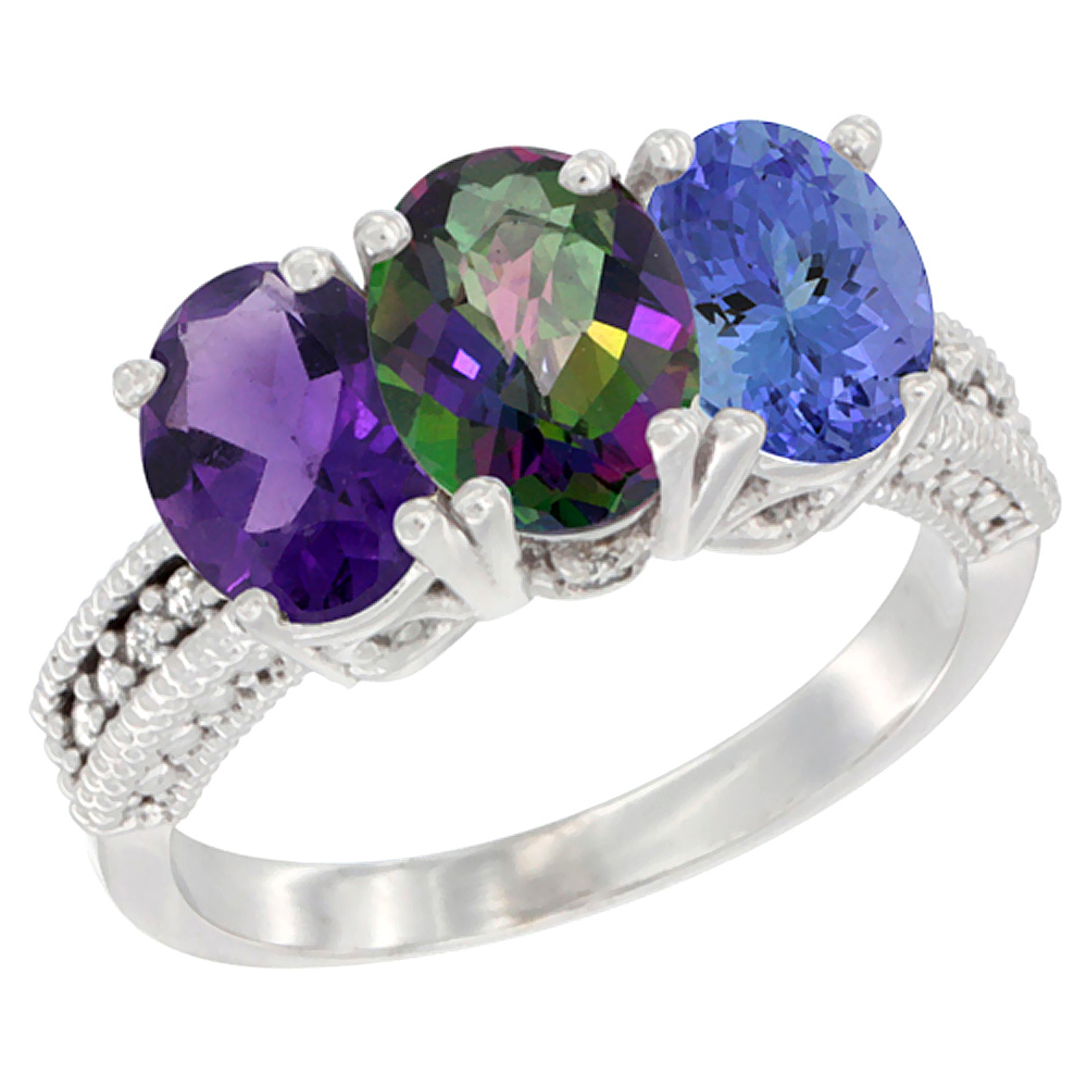 10K White Gold Natural Amethyst, Mystic Topaz & Tanzanite Ring 3-Stone Oval 7x5 mm Diamond Accent, sizes 5 - 10