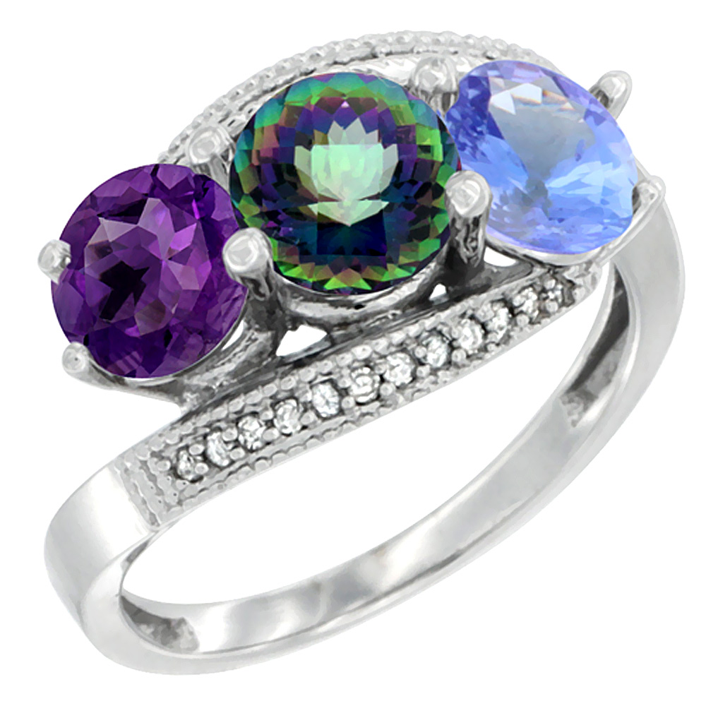 10K White Gold Natural Amethyst, Mystic Topaz & Tanzanite 3 stone Ring Round 6mm Diamond Accent, sizes 5 - 10