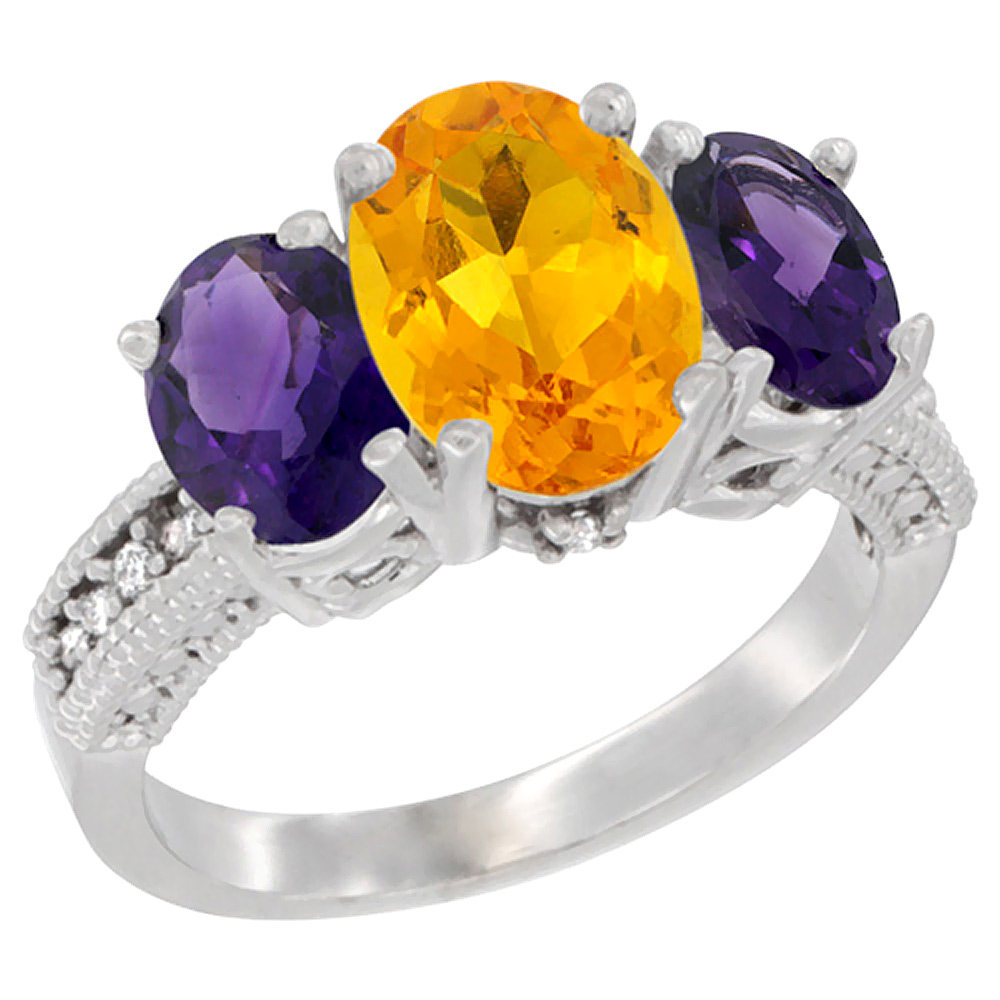 14K White Gold Natural Citrine Ring Ladies 3-Stone 8x6 Oval with Amethyst Sides Diamond Accent, sizes 5 - 10