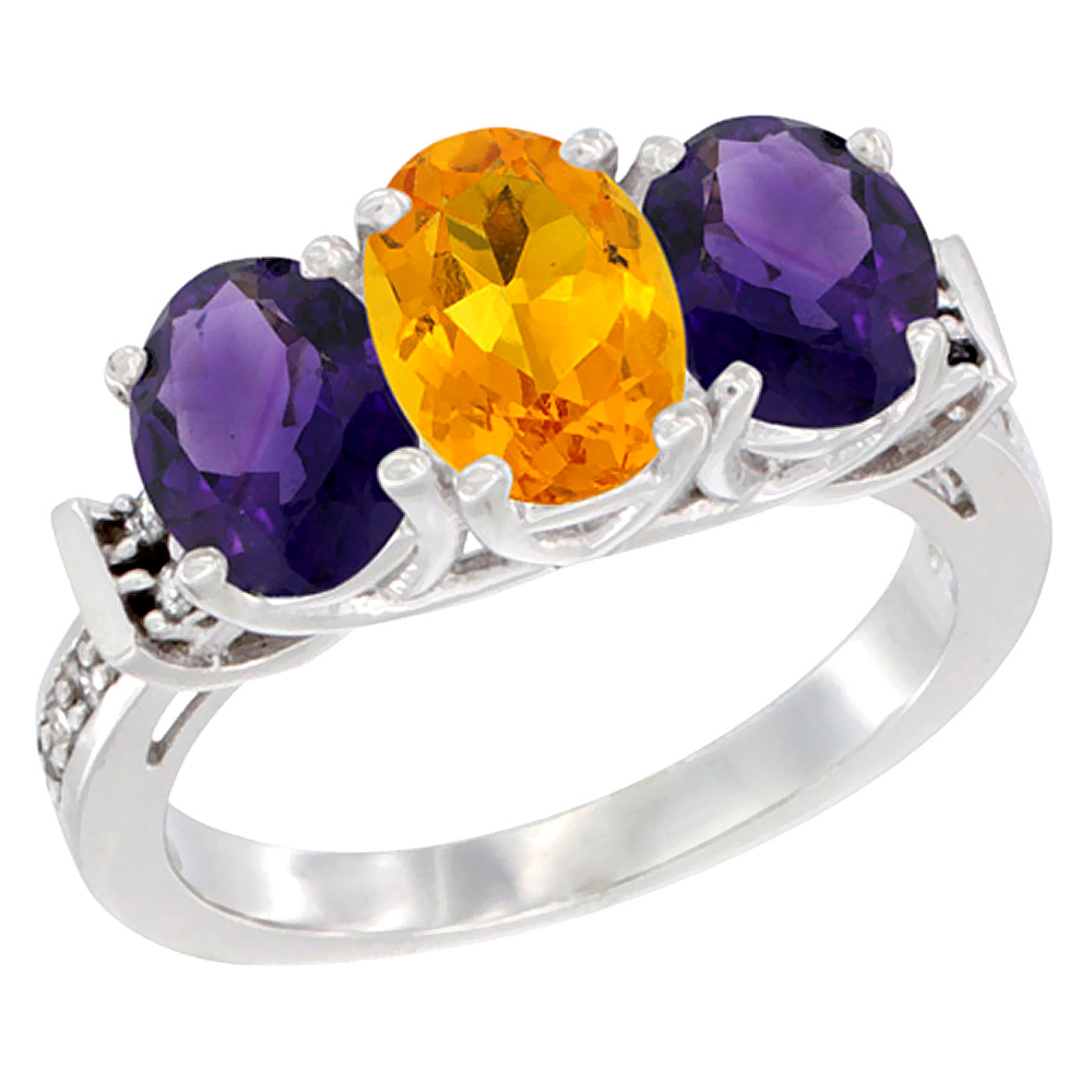 14K White Gold Natural Citrine & Amethyst Sides Ring 3-Stone Oval Diamond Accent, sizes 5 - 10