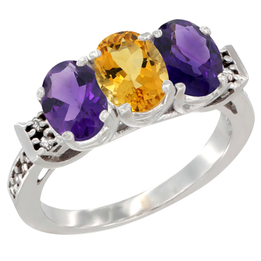 14K White Gold Natural Citrine & Amethyst Sides Ring 3-Stone 7x5 mm Oval Diamond Accent, sizes 5 - 10