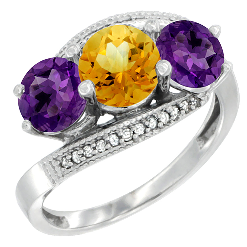 14K White Gold Natural Citrine & Amethyst Sides 3 stone Ring Round 6mm Diamond Accent, sizes 5 - 10