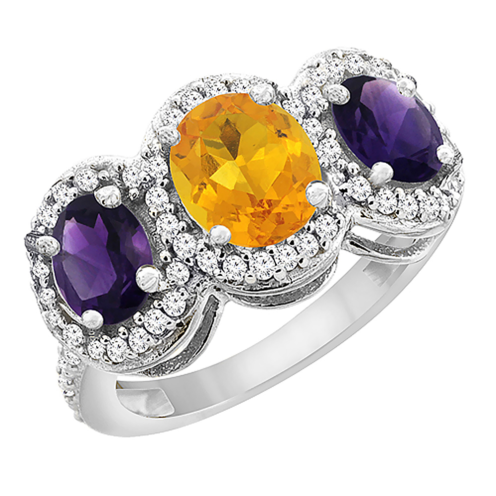 10K White Gold Natural Citrine & Amethyst 3-Stone Ring Oval Diamond Accent, sizes 5 - 10