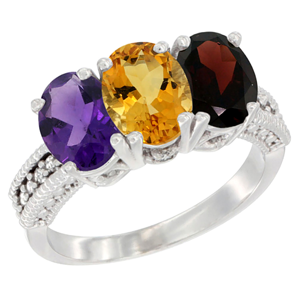 10K White Gold Natural Amethyst, Citrine & Garnet Ring 3-Stone Oval 7x5 mm Diamond Accent, sizes 5 - 10
