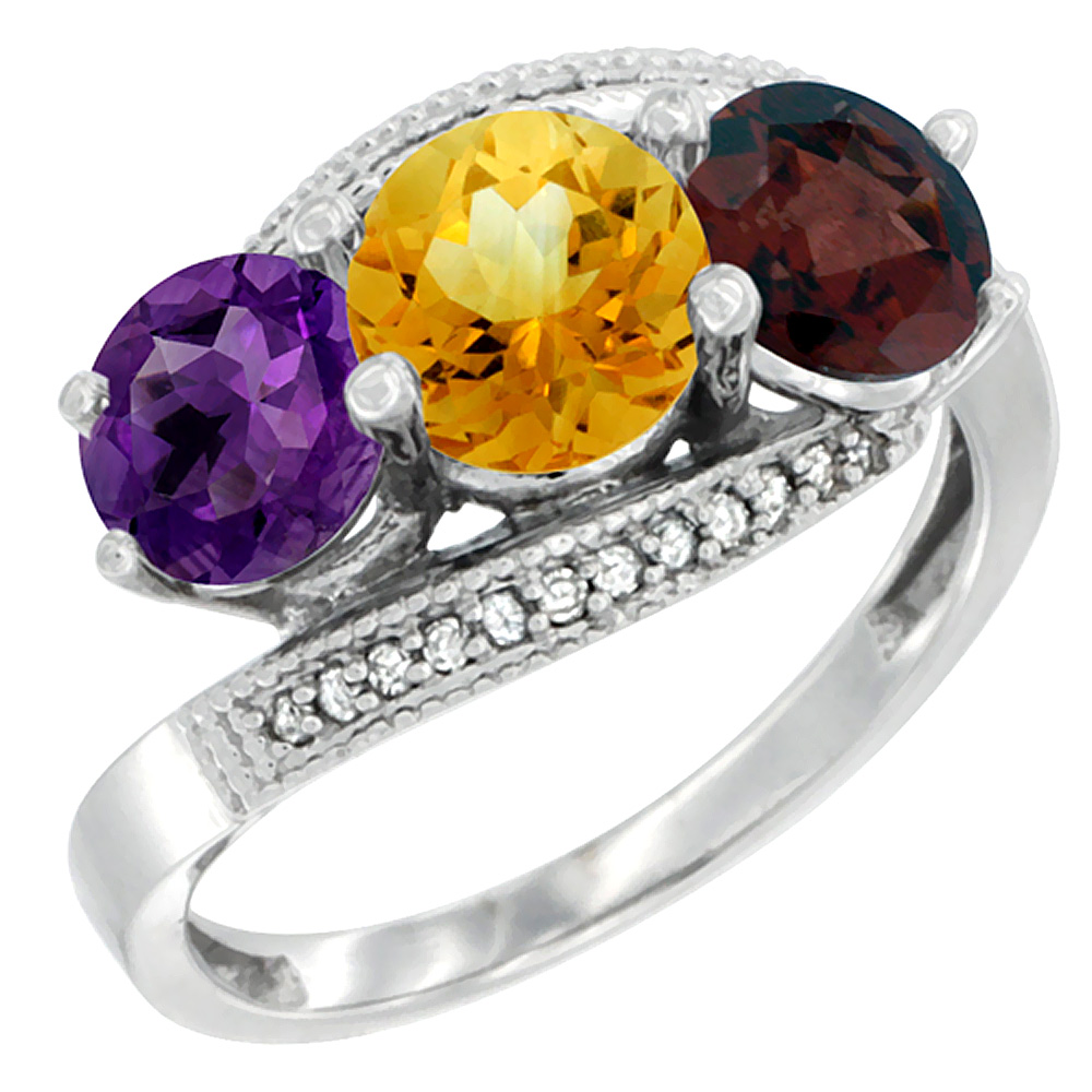 14K White Gold Natural Amethyst, Citrine & Garnet 3 stone Ring Round 6mm Diamond Accent, sizes 5 - 10