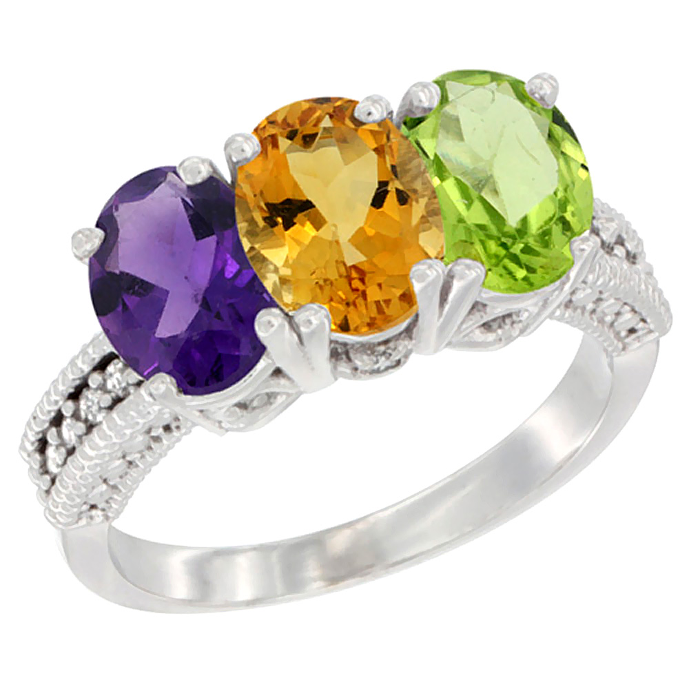 14K White Gold Natural Amethyst, Citrine & Peridot Ring 3-Stone 7x5 mm Oval Diamond Accent, sizes 5 - 10