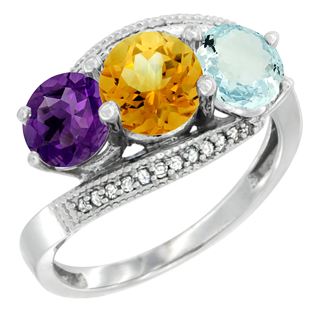 14K White Gold Natural Amethyst, Citrine & Aquamarine 3 stone Ring Round 6mm Diamond Accent, sizes 5 - 10