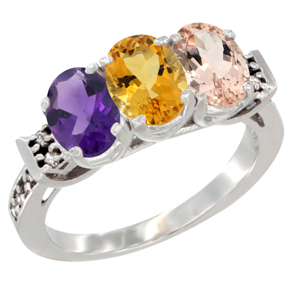 10K White Gold Natural Amethyst, Citrine & Morganite Ring 3-Stone Oval 7x5 mm Diamond Accent, sizes 5 - 10