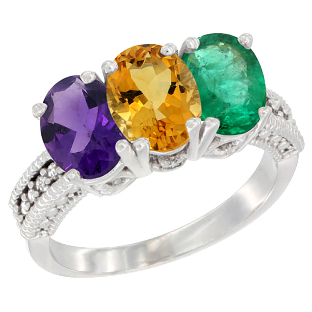 14K White Gold Natural Amethyst, Citrine & Emerald Ring 3-Stone 7x5 mm Oval Diamond Accent, sizes 5 - 10