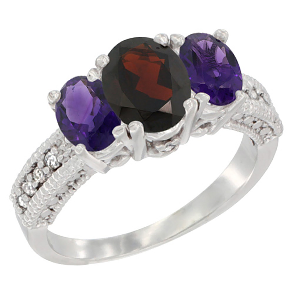 14K White Gold Diamond Natural Garnet Ring Oval 3-stone with Amethyst, sizes 5 - 10