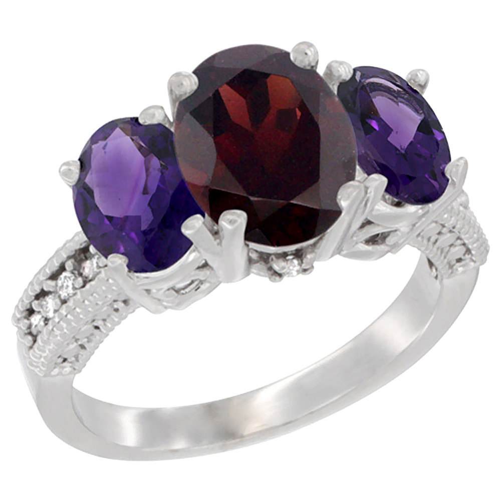 10K White Gold Natural Garnet Ring Ladies 3-Stone 8x6 Oval with Amethyst Sides Diamond Accent, sizes 5 - 10