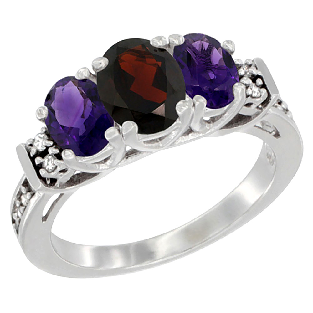 10K White Gold Natural Garnet & Amethyst Ring 3-Stone Oval Diamond Accent, sizes 5-10