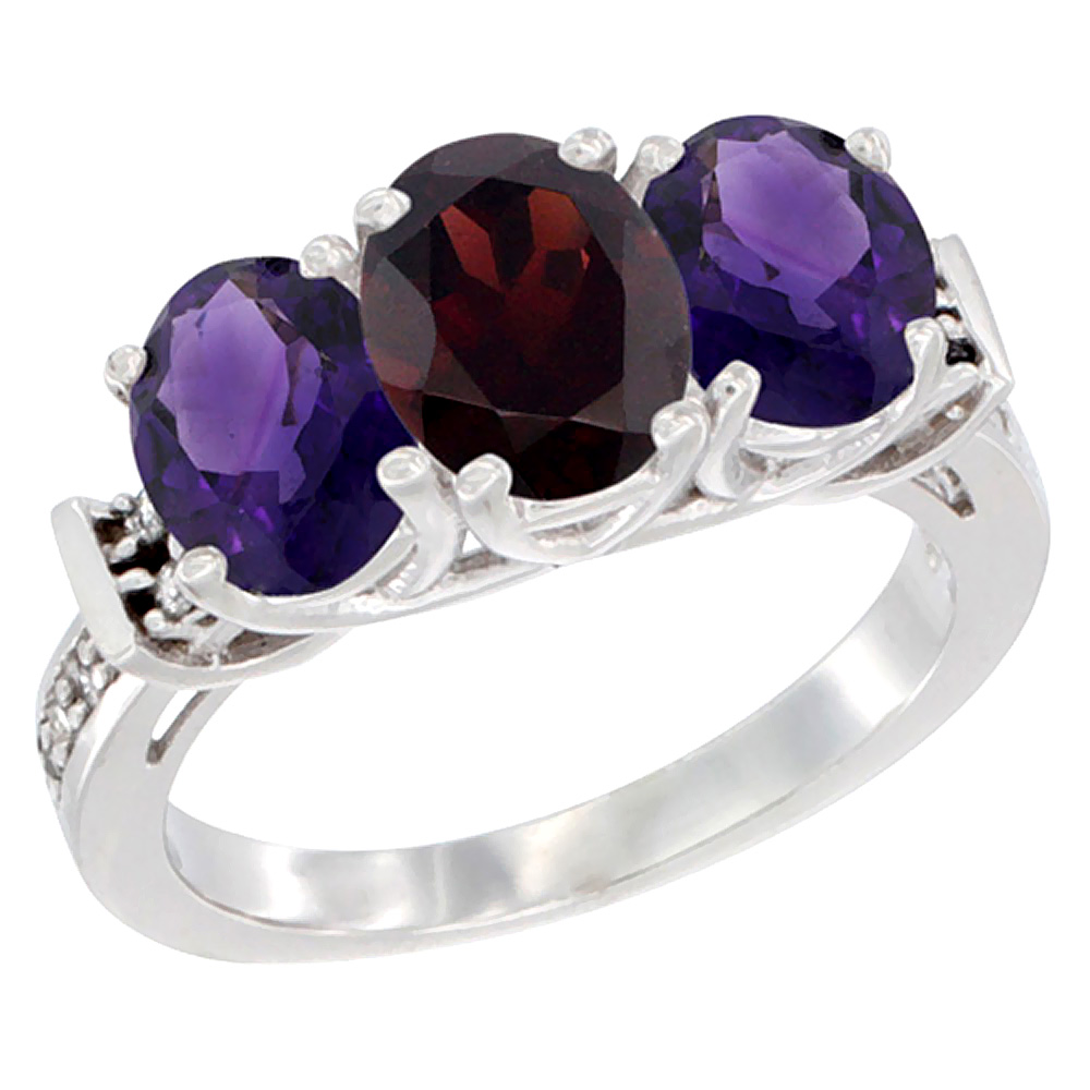 10K White Gold Natural Garnet & Amethyst Sides Ring 3-Stone Oval Diamond Accent, sizes 5 - 10