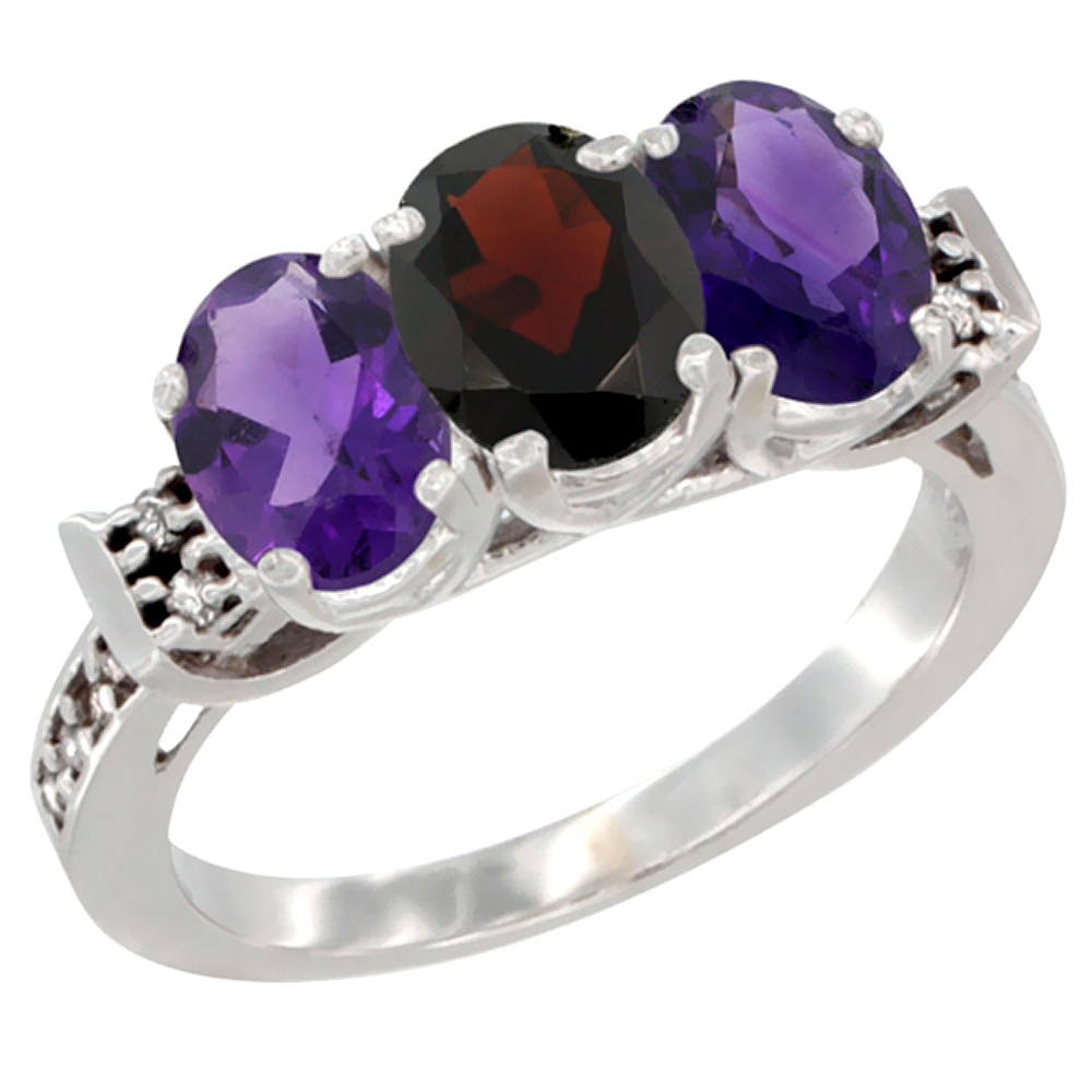 10K White Gold Natural Garnet & Amethyst Sides Ring 3-Stone Oval 7x5 mm Diamond Accent, sizes 5 - 10
