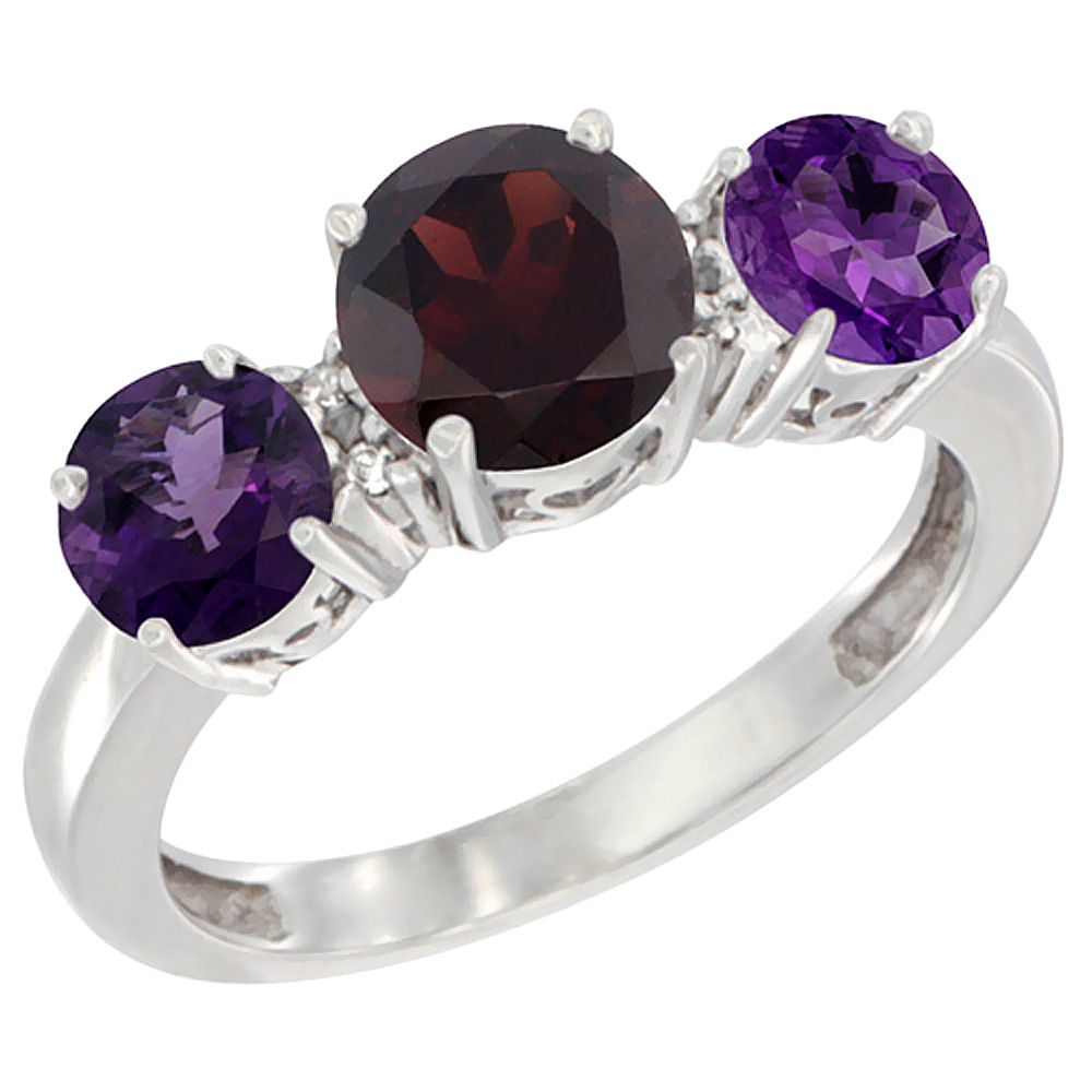 14K White Gold Round 3-Stone Natural Garnet Ring & Amethyst Sides Diamond Accent, sizes 5 - 10