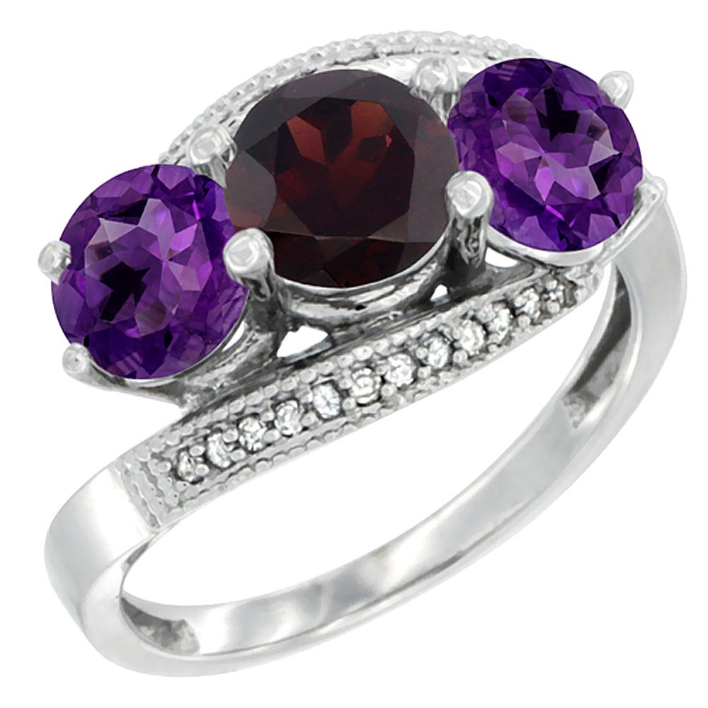 14K White Gold Natural Garnet & Amethyst Sides 3 stone Ring Round 6mm Diamond Accent, sizes 5 - 10