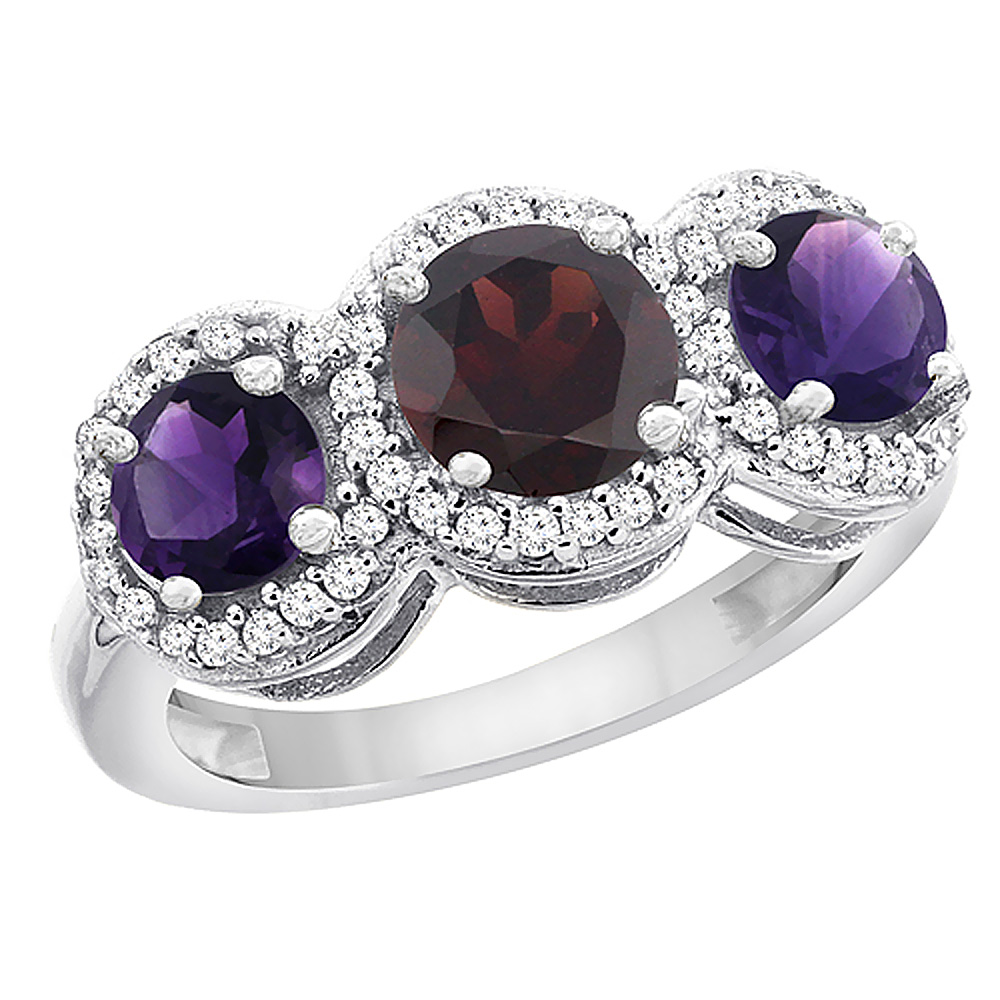 14K White Gold Natural Garnet & Amethyst Sides Round 3-stone Ring Diamond Accents, sizes 5 - 10