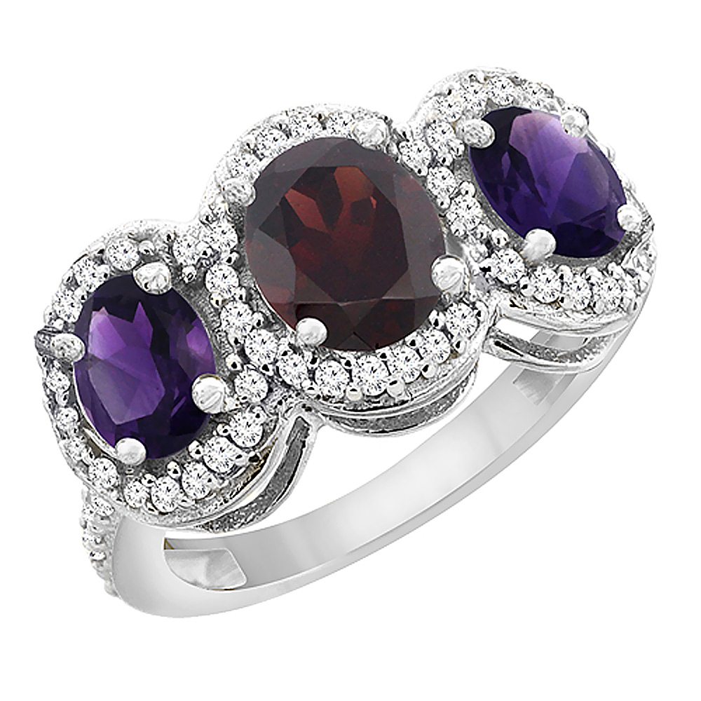 14K White Gold Natural Garnet & Amethyst 3-Stone Ring Oval Diamond Accent, sizes 5 - 10