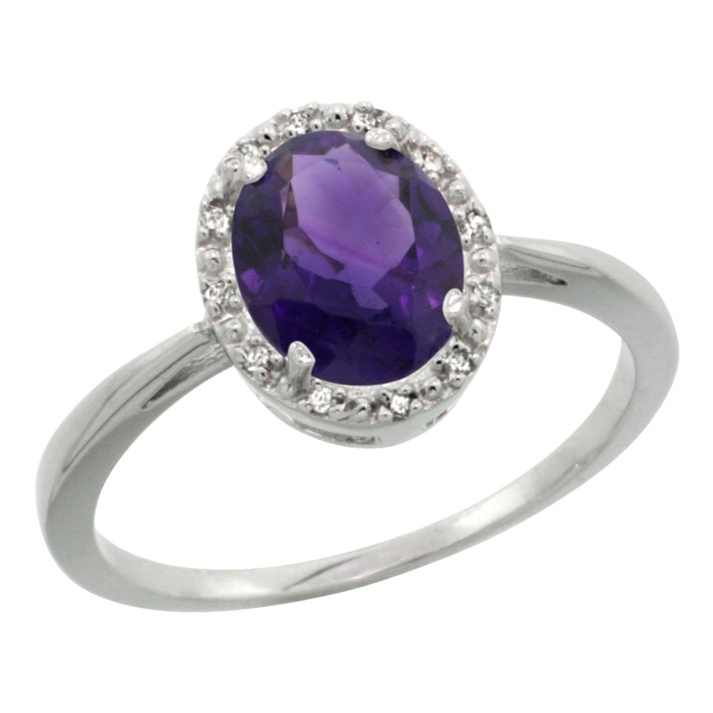 14K White Gold Natural Amethyst Diamond Halo Ring Oval 8X6mm, sizes 5-10