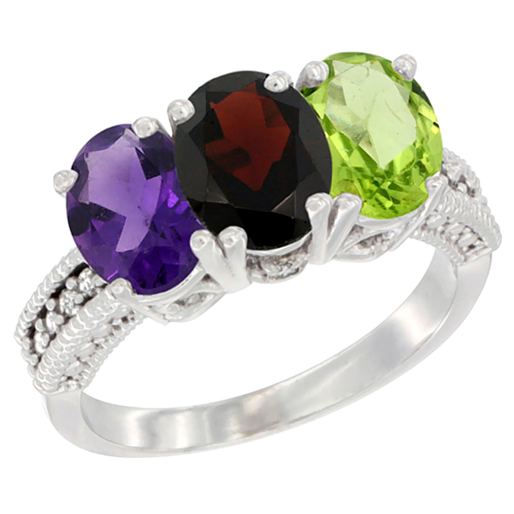 10K White Gold Natural Amethyst, Garnet & Peridot Ring 3-Stone Oval 7x5 mm Diamond Accent, sizes 5 - 10