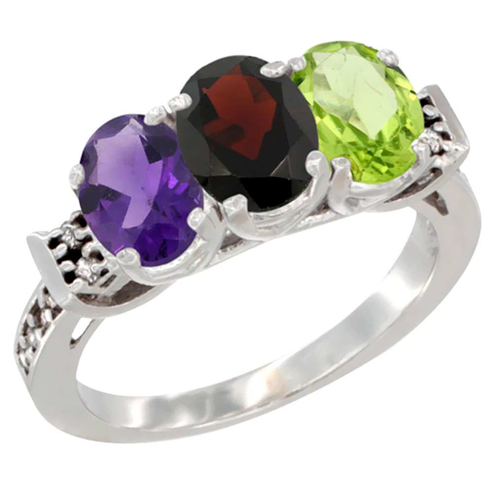 14K White Gold Natural Amethyst, Garnet & Peridot Ring 3-Stone 7x5 mm Oval Diamond Accent, sizes 5 - 10