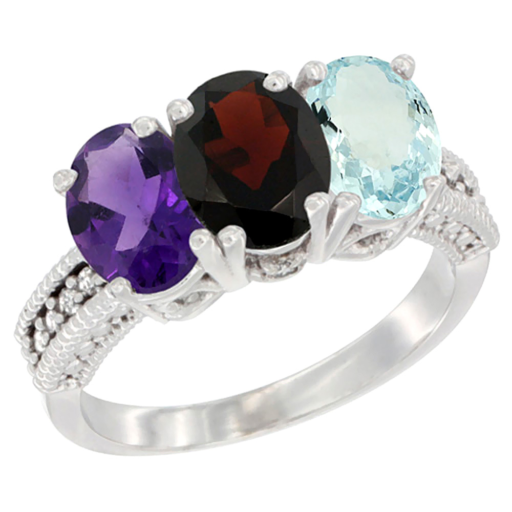 10K White Gold Natural Amethyst, Garnet & Aquamarine Ring 3-Stone Oval 7x5 mm Diamond Accent, sizes 5 - 10