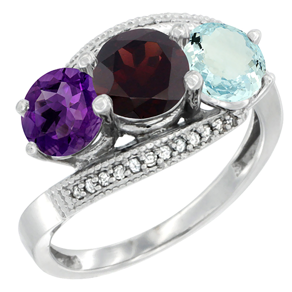 10K White Gold Natural Amethyst, Garnet & Aquamarine 3 stone Ring Round 6mm Diamond Accent, sizes 5 - 10