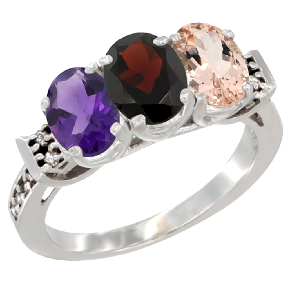 14K White Gold Natural Amethyst, Garnet & Morganite Ring 3-Stone 7x5 mm Oval Diamond Accent, sizes 5 - 10