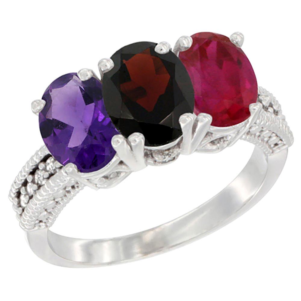 14K White Gold Natural Amethyst, Garnet & Enhanced Ruby Ring 3-Stone 7x5 mm Oval Diamond Accent, sizes 5 - 10