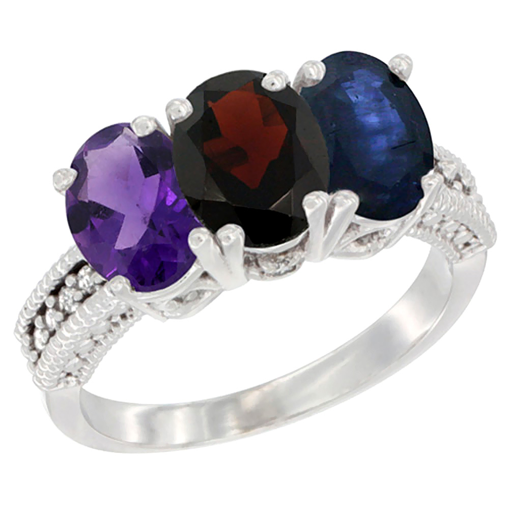 14K White Gold Natural Amethyst, Garnet & Blue Sapphire Ring 3-Stone 7x5 mm Oval Diamond Accent, sizes 5 - 10