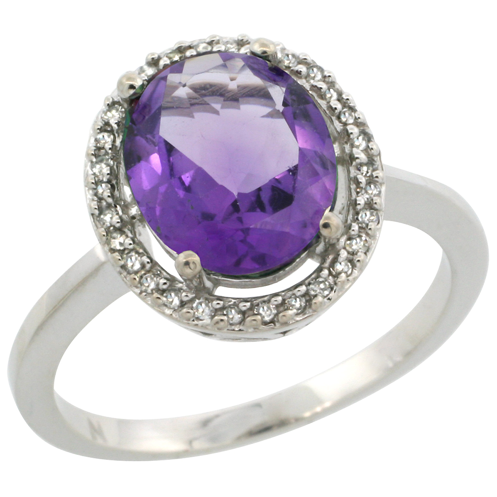 10K White Gold Diamond Halo Natural Amethyst Engagement Ring Oval 10x8 mm, sizes 5-10