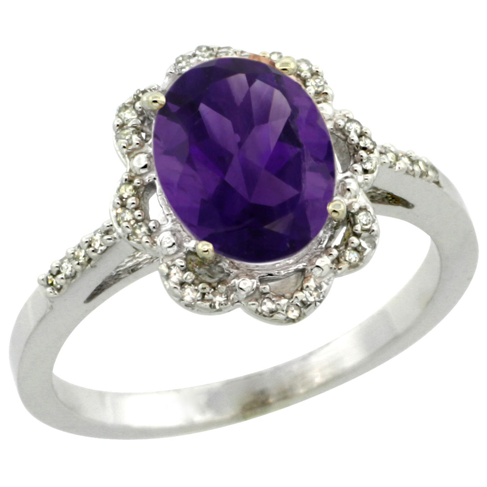 10K White Gold Diamond Halo Natural Amethyst Engagement Ring Oval 9x7mm, sizes 5-10