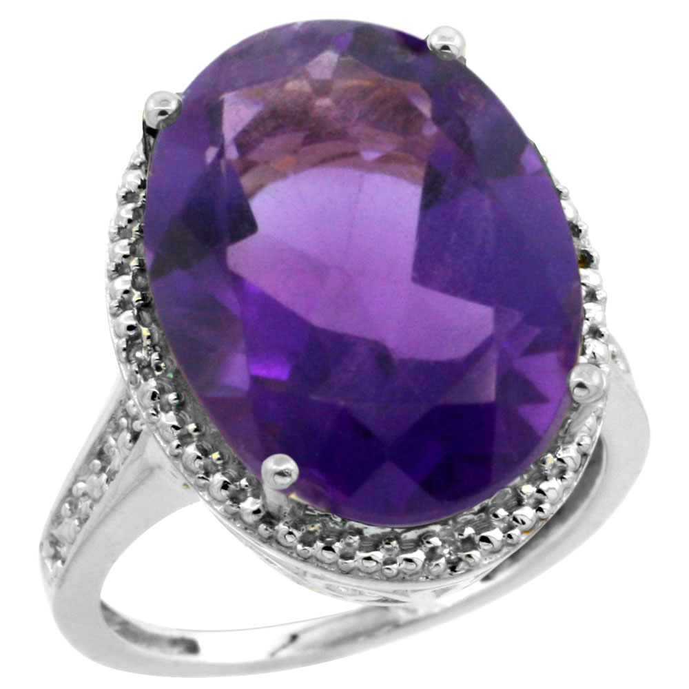10K White Gold Diamond Natural Amethyst Ring Oval 18x13mm, sizes 5-10