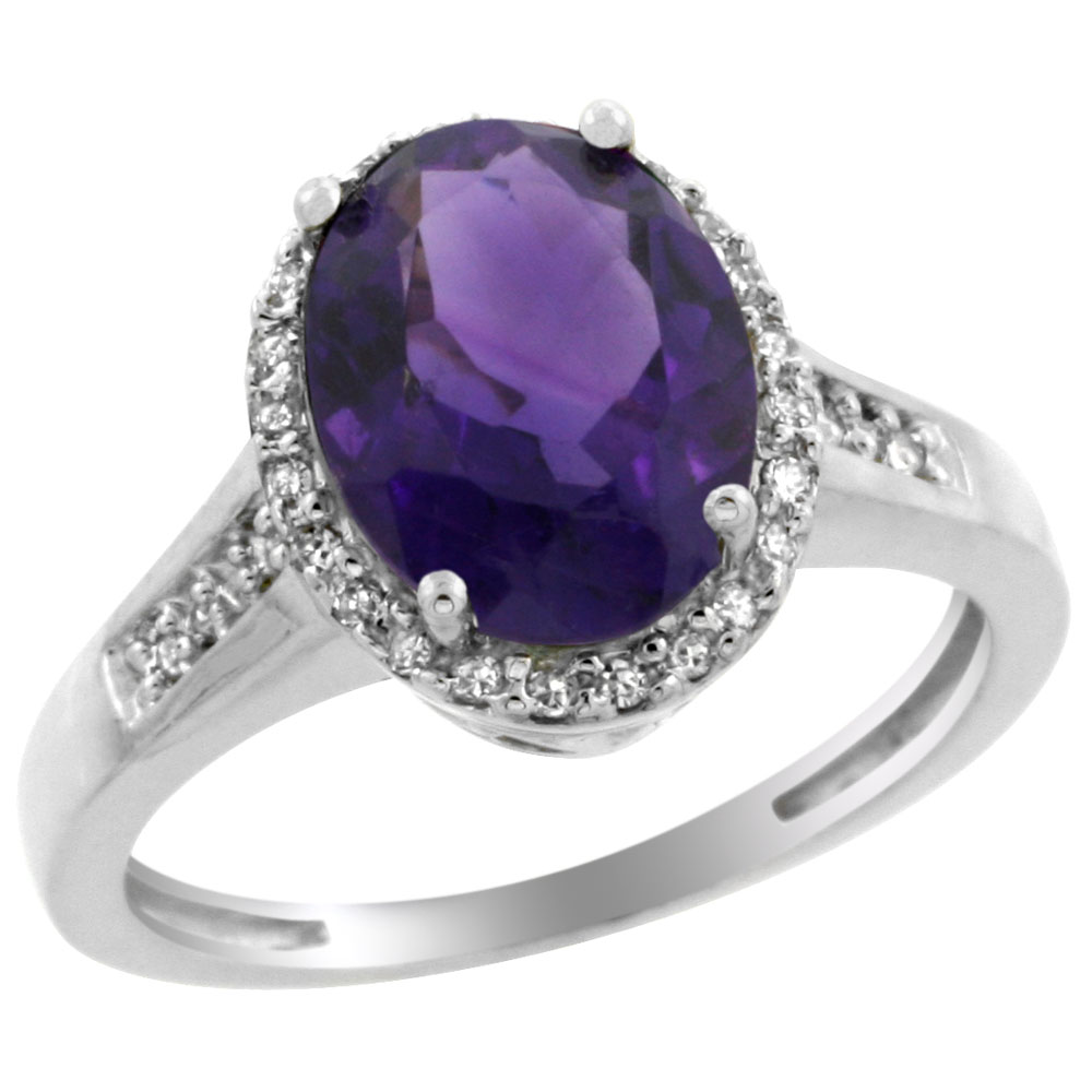 10K White Gold Diamond Genuine Amethyst Engagement Ring Oval 10x8mm sizes 5-10