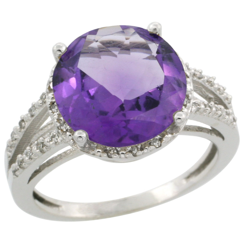 10K White Gold Diamond Natural Amethyst Ring Round 11mm, sizes 5-10